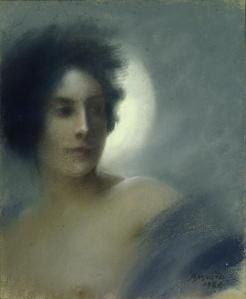 """Woman with a Crescent Moon"" (1888) Paul-Albert Besnard"