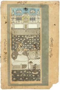 """Farrukhsiyar, """"Portrait"""" (1712)  with ghazal on verso"""