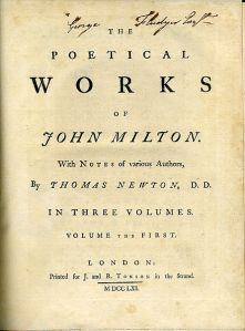 "Title page of 1752–1761 edition of ""The Poetical Works of John Milton""."