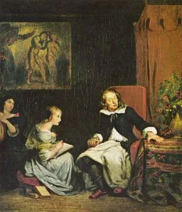 """Milton Dictates the Lost Paradise to His Three Daughters"" by Eugène Delacroix (1826)."