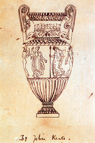Keats' drawing of the urn (public domain)