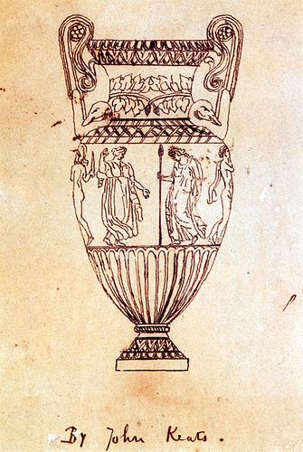 Keats' drawing of the urn (public domain)