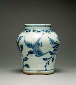 19th Century Korean jar with pomegranate and bird design