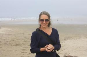 Jane making sandballs on the Oregon Coast.