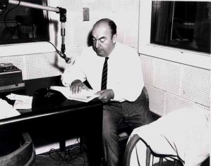 Pablo Neruda at a recording session at the US Library of Congress