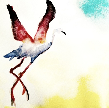 taking flight - watercolor by c. schoenfeld
