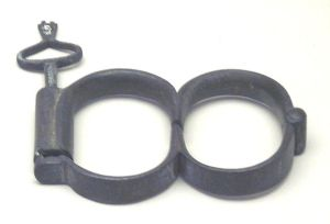 Grey handcuffs from the 19th century, from Bedfordshire, UK.