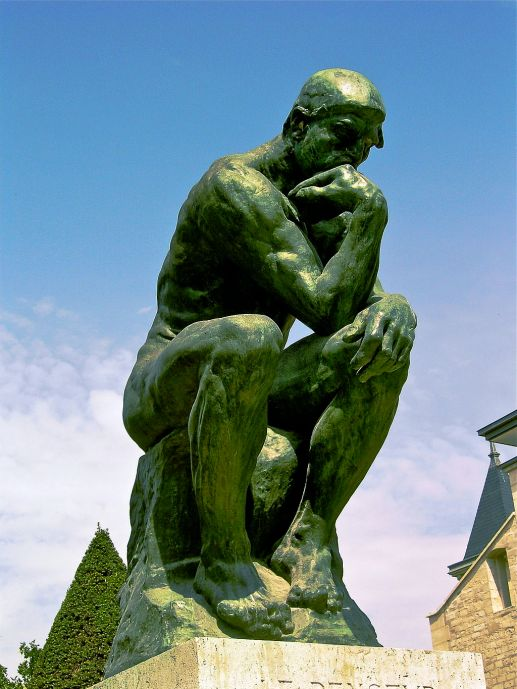 The Thinker by Rodin (pic yy AndrewHorne at  en.wikipedia [Public domain], from Wikimedia Commons