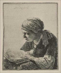 A young woman Reading by Rembrandt
