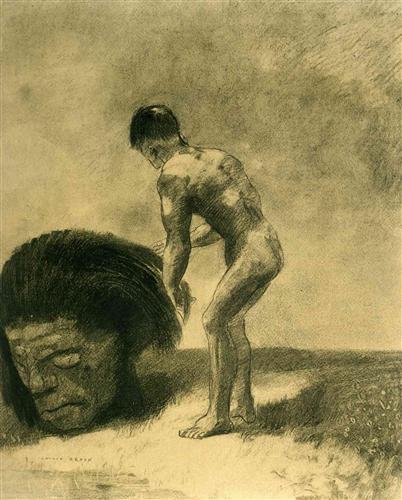 David and Goliath by Odilon Redon