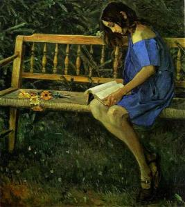 Portrait of Natasha Nesterova (On a Garden Bench) by Mikhail Nesterov