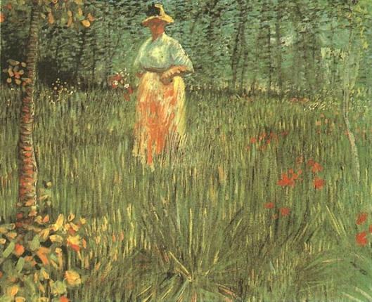 A woman walking in garden by Vincent van Gogh.