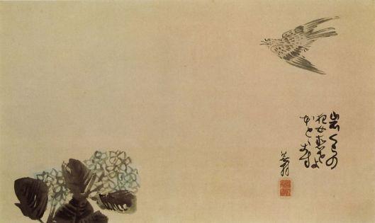 A little cuckoo across a hydrangea by Yosa Buson.
