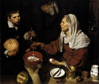 Old Woman Frying Eggs, 1618 by Diego Velazquez, found on diego-velasquez.org