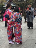 Many rent kimonos at nearby shops before visiting shrine areas.